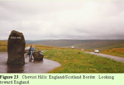 Cheviot Hills:  England/Scotland Border.  Looking toward England.